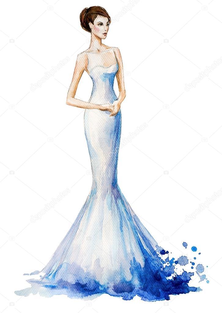 Aquarell Mode Illustration Sch Nes Junges M Dchen In Ein