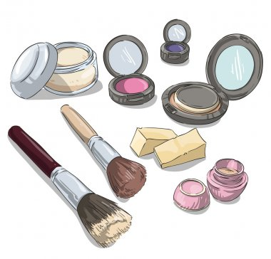 Makeup products drawing. Fashion illustration.