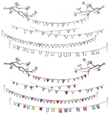 Doodle tree branches and party flags. Garlands.