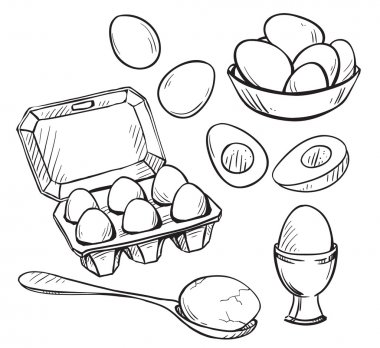 Set of eggs drawings. Hand drawn. Vector illustration. stock vector