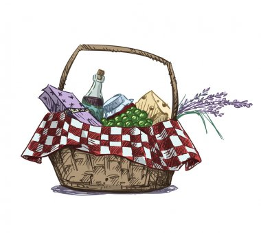 Picnic basket with snack. Hand drawn. Vector illustration.