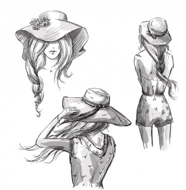 Fashion illustration. Hand drawn. Girls in hats