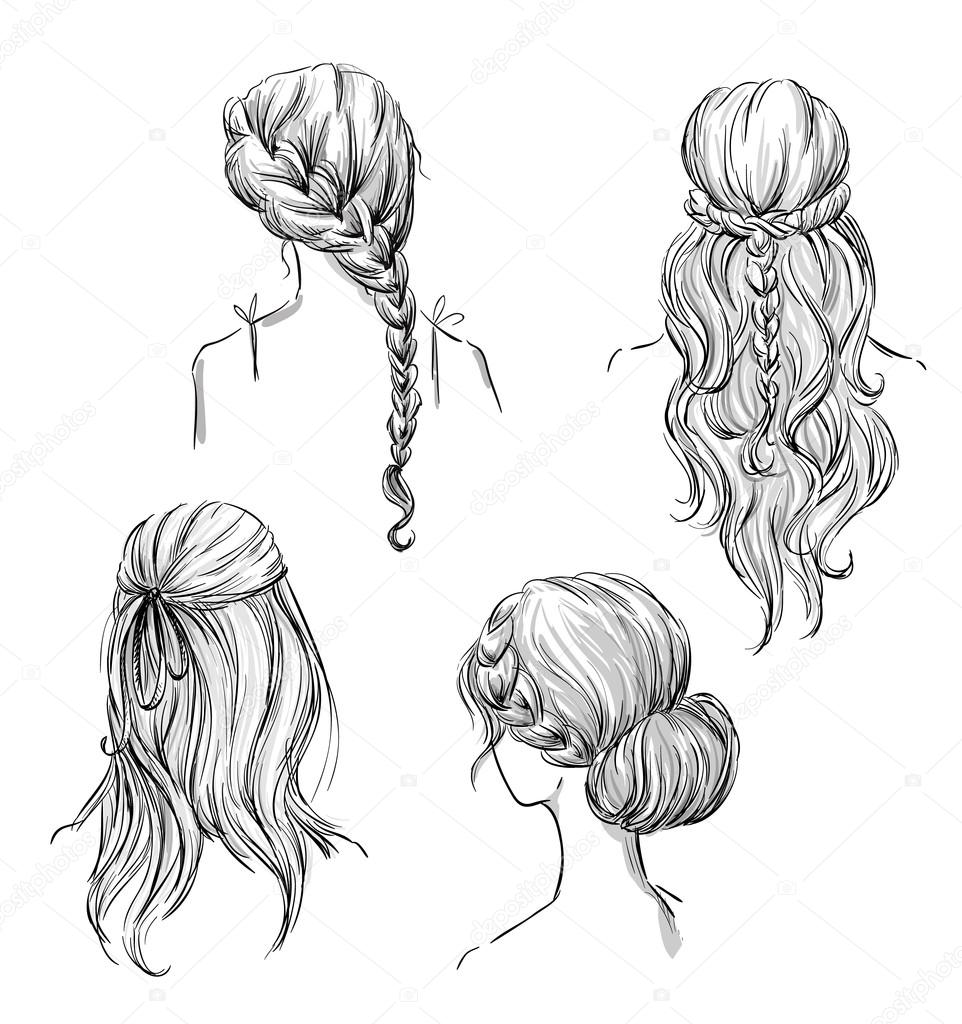 Set of different hairstyles. Hand drawn. Black and white. — Stock Vector © kamenuka #67848395