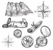 Sada ručně kreslenou kompasy a mapy