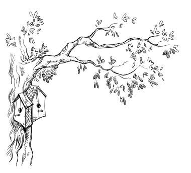 Bird houses on a tree