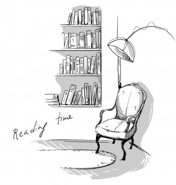 Reading time. A quiet cozy corner at home, bookshelves and a chair