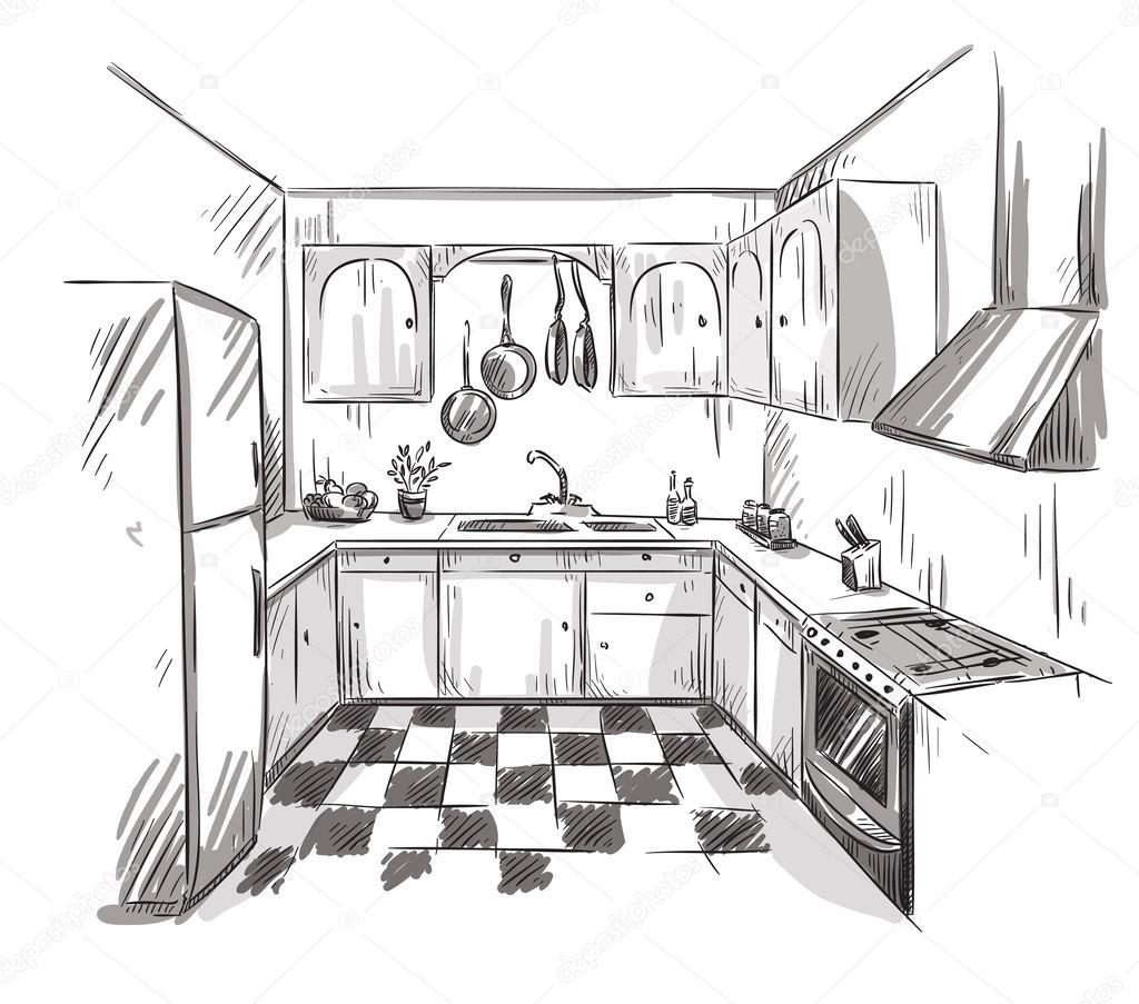 Kitchen interior drawing vector illustration stock - Dibujos de cocina ...