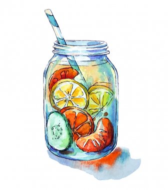 Fruit drink. Mason jar. Watercolor. Hand painted.