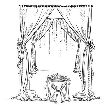 Wedding arch. Wedding altar. Decoration. Vector sketch. Design element