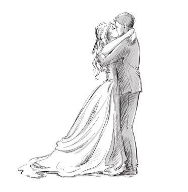 Wedding couple kiss. Newlywed.  Vector sketch.