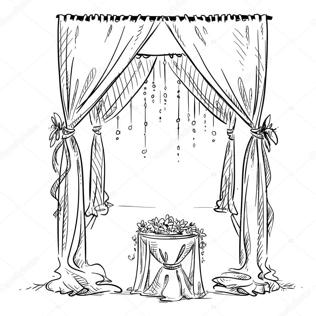 Wedding Altar Cartoon: Wedding Arch. Wedding Altar. Decoration. Vector Sketch
