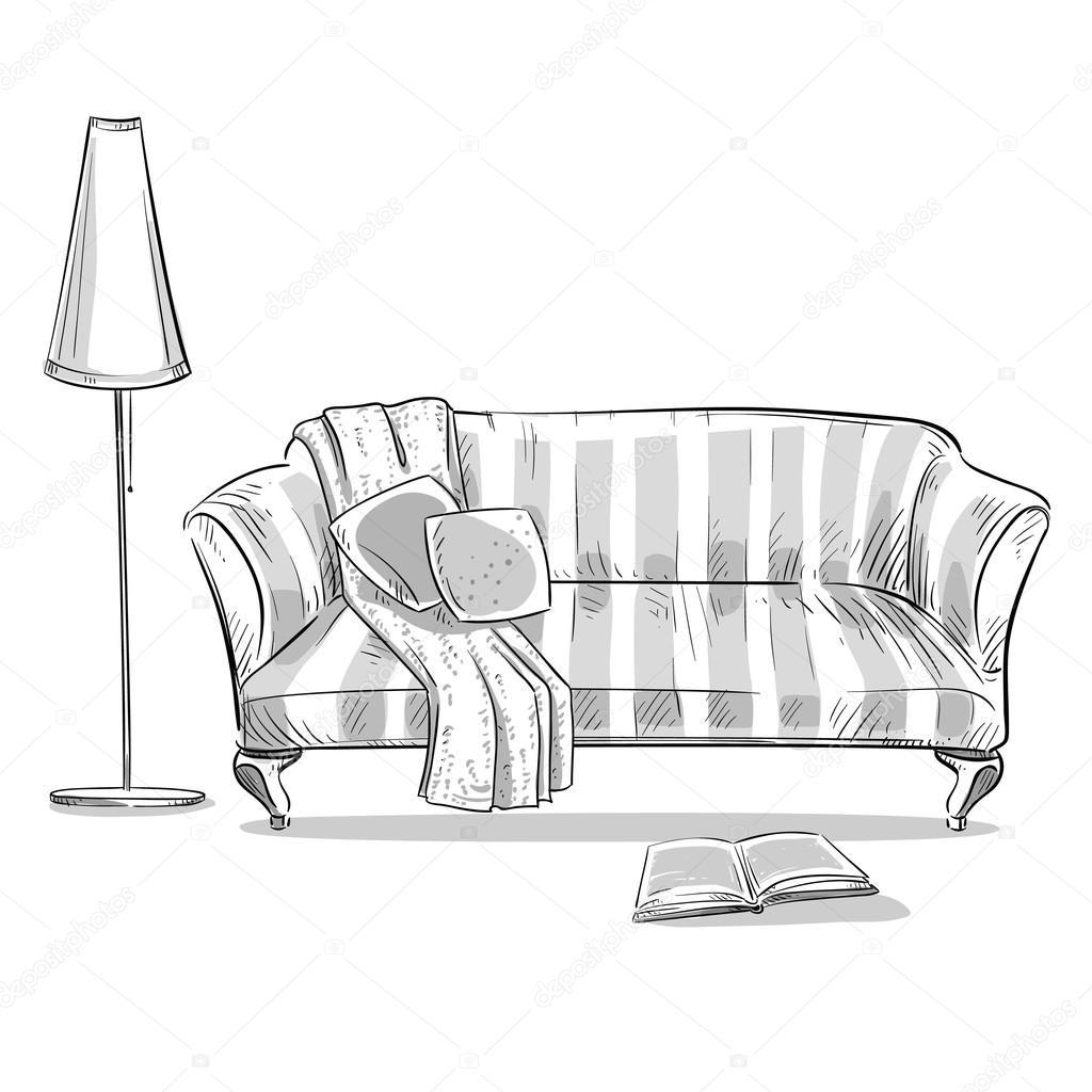 Sofa gezeichnet  gezeichnete innere Element. Bequemes Sofa und eine Lampe ...