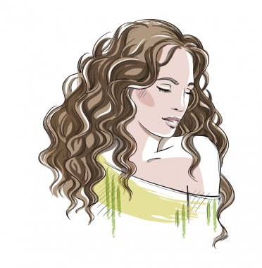 Sketch of a beautiful girl with curly hair. Fashion illustration