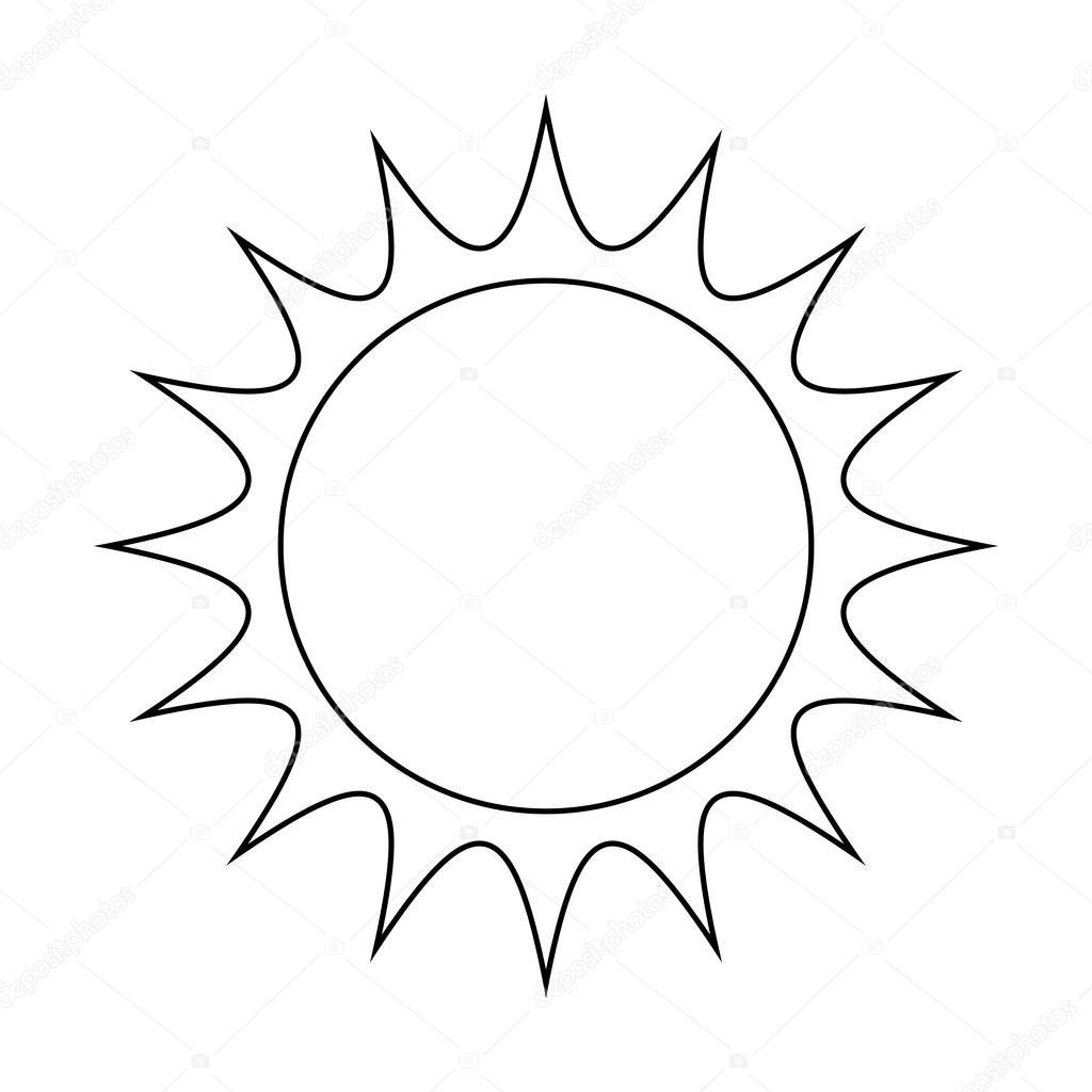 Disegno di icona simbolo di sole vettoriale illustrazione for Immagini sole da colorare