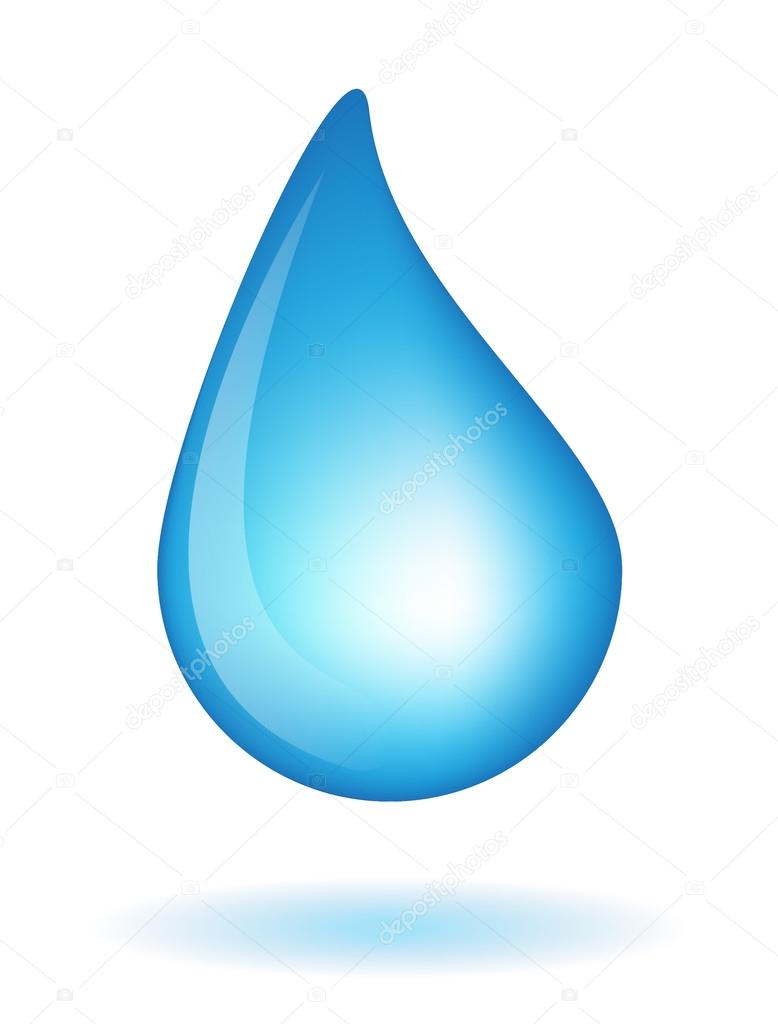 blue realistic vector water drop isolated on white background rh depositphotos com vector water drop cartoon vector water drop icon