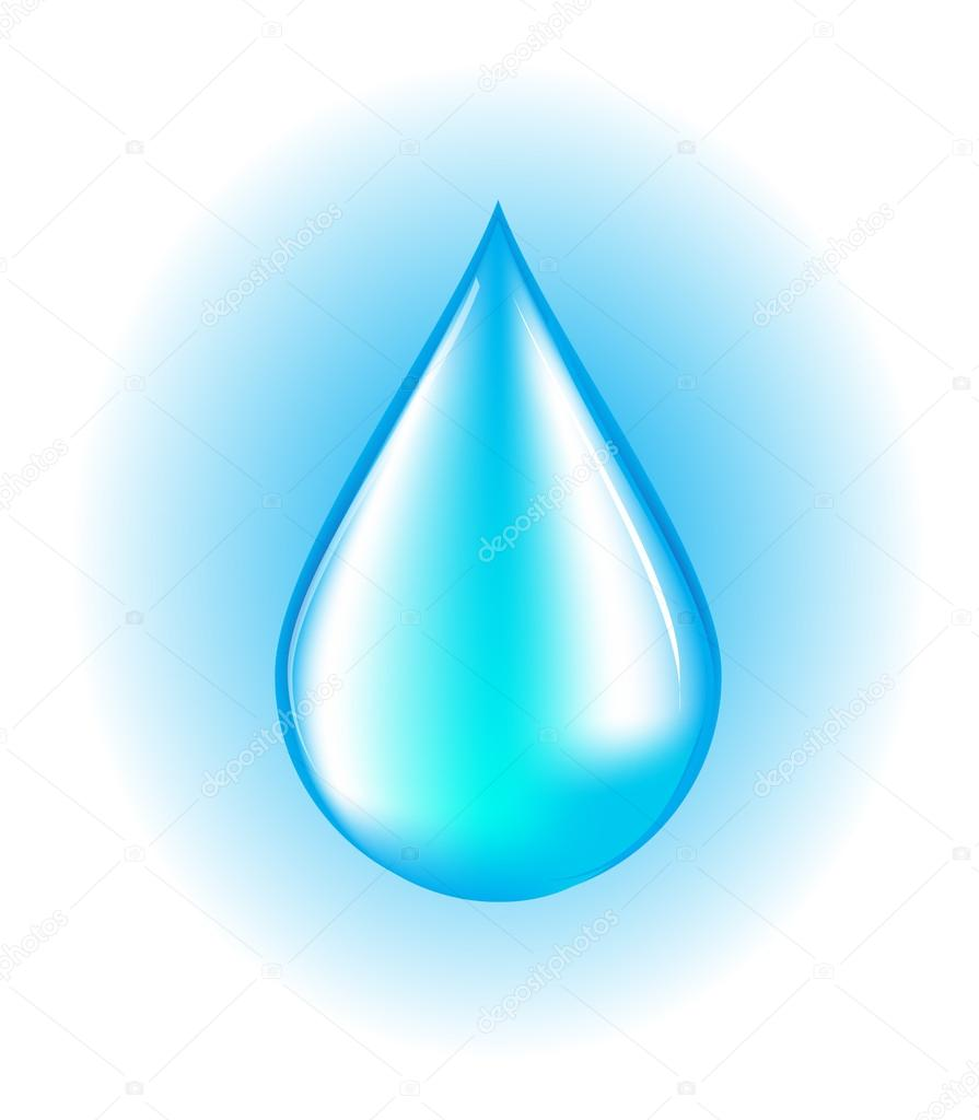 blue realistic vector water drop on white and blue background rh depositphotos com vector water drop free vector water drop background
