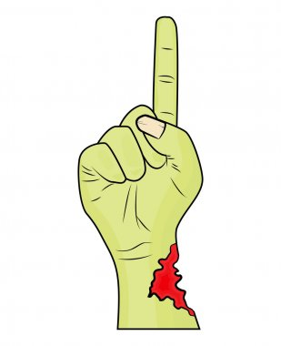 Zombie hand finger up gesture halloween vector - realistic cartoon isolated illustration. Image of scary monster hand gesture pointing up with torn, riven green skin. Picture isolated on white