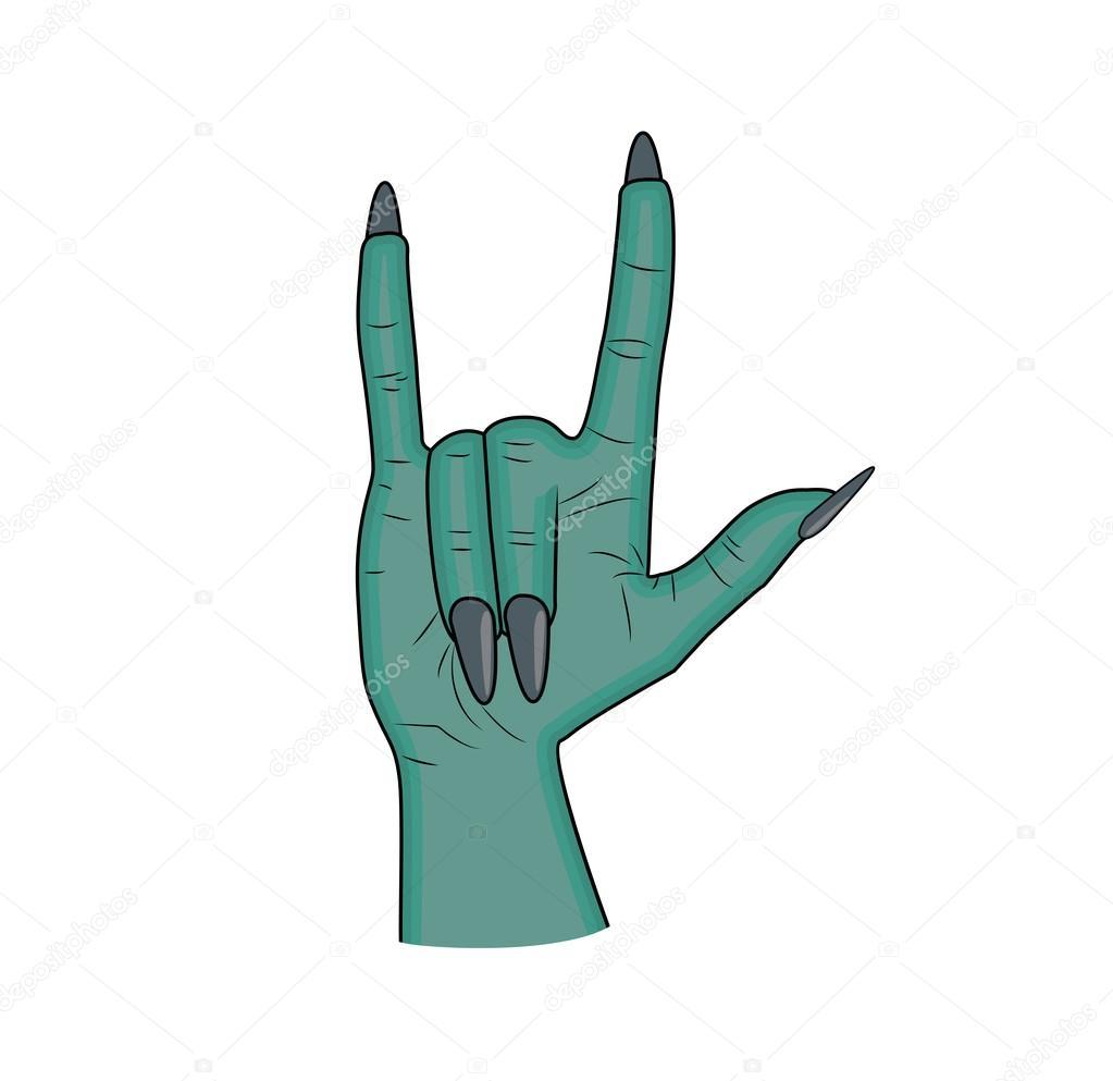 Cuernos, dedo signo de Satanás hasta vector de halloween del gesto ...