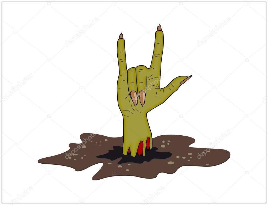 Mano de Zombie cuernos, signo de Satanás de tierra vector de ...