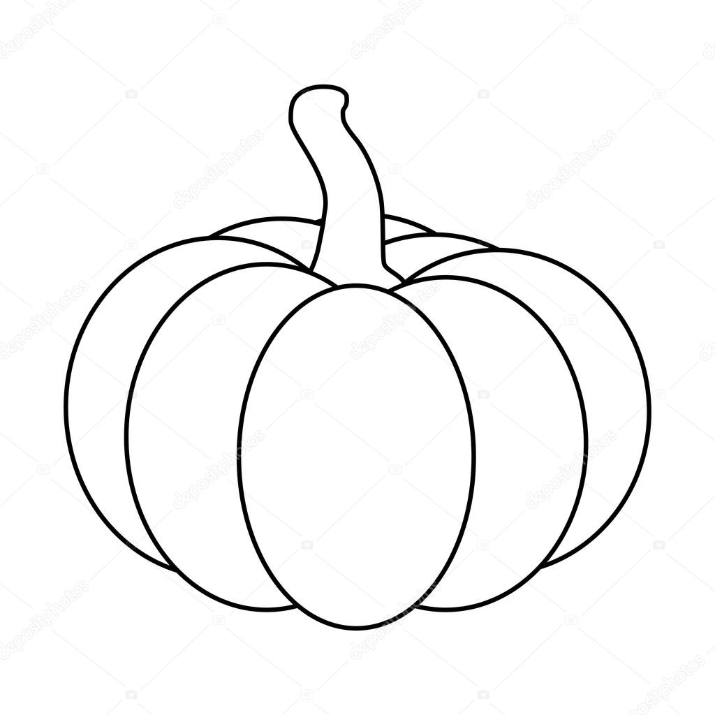 Halloween Pumpkin Outline Contour Vector Illustration Isolated On