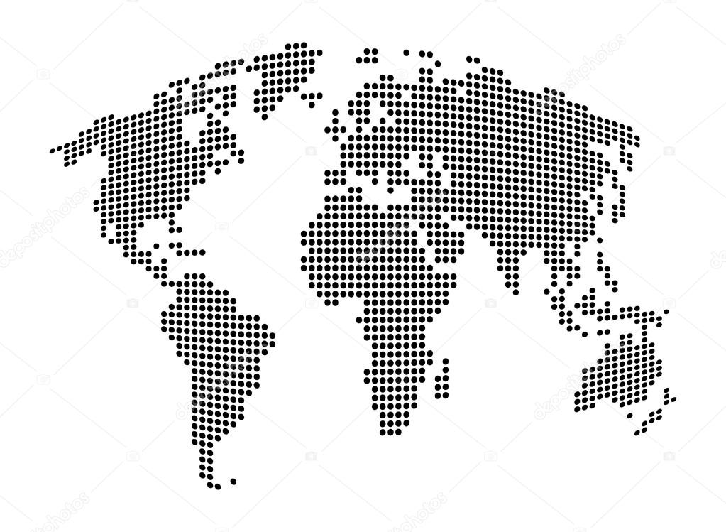 World map abstract dotted vector background black and white world map abstract dotted vector background black and white silhouette illustration vector de gumiabroncs Images