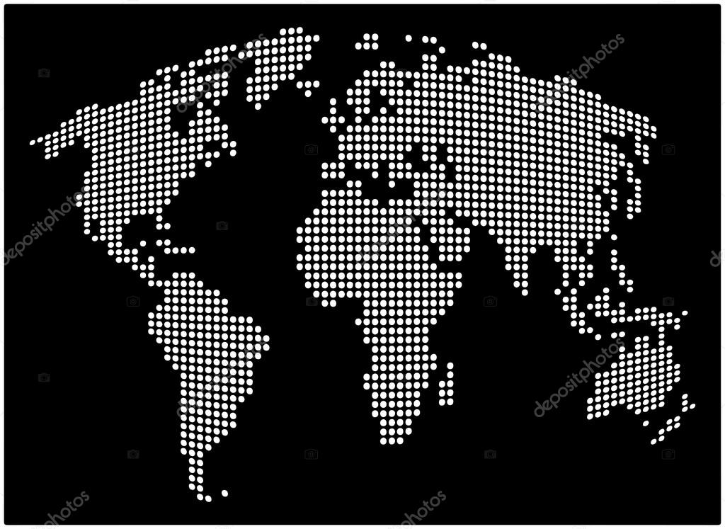 World map abstract dotted vector background black and white world map abstract dotted vector background black and white silhouette illustration stock vector gumiabroncs Images
