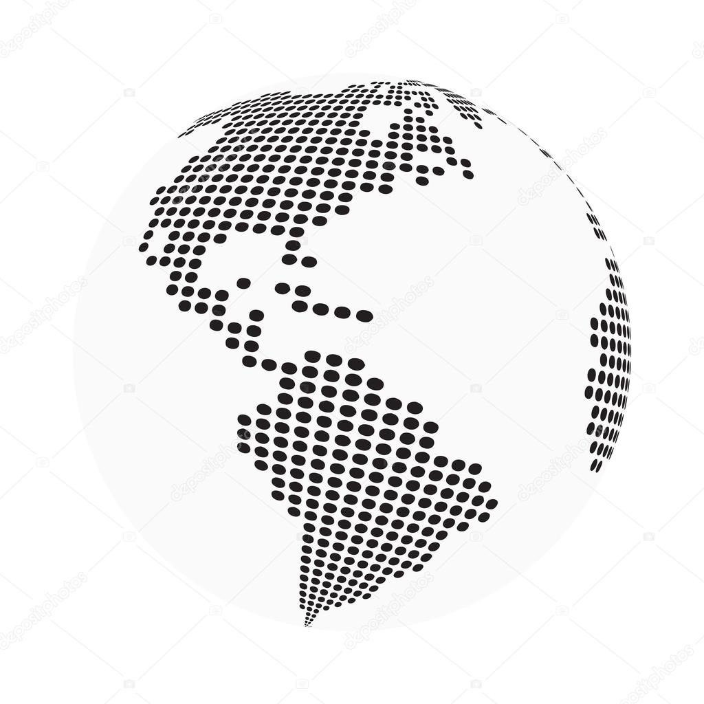 Globe earth world map abstract dotted vector background black globe earth world map abstract dotted vector background black and white silhouette illustration gumiabroncs Gallery
