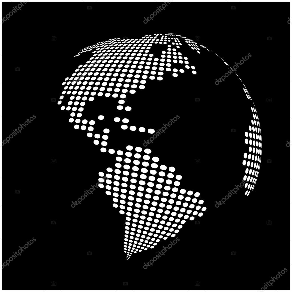 Globe earth world map abstract dotted vector background black and globe earth world map abstract dotted vector background black and white silhouette illustration gumiabroncs Images