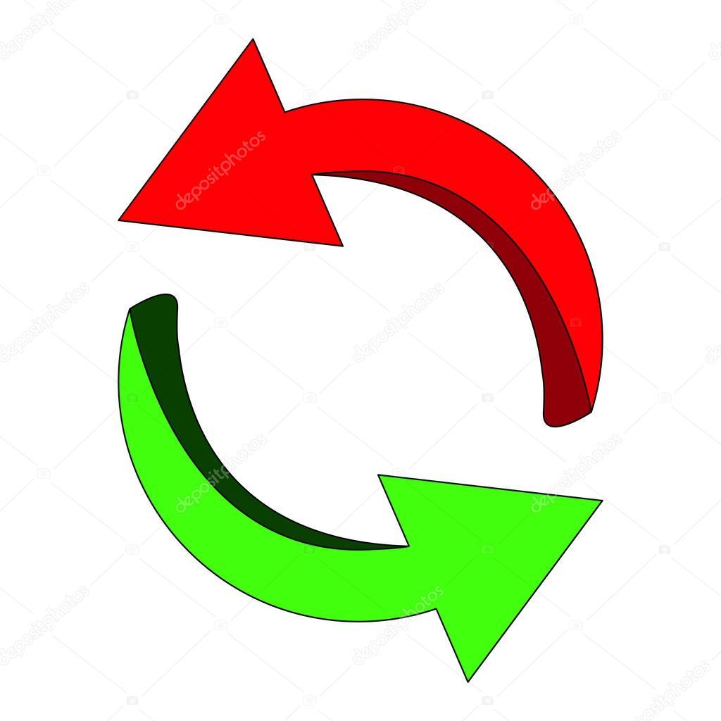 矢印シンボル赤緑色のアイコン クリップアート サイクル ビジネス