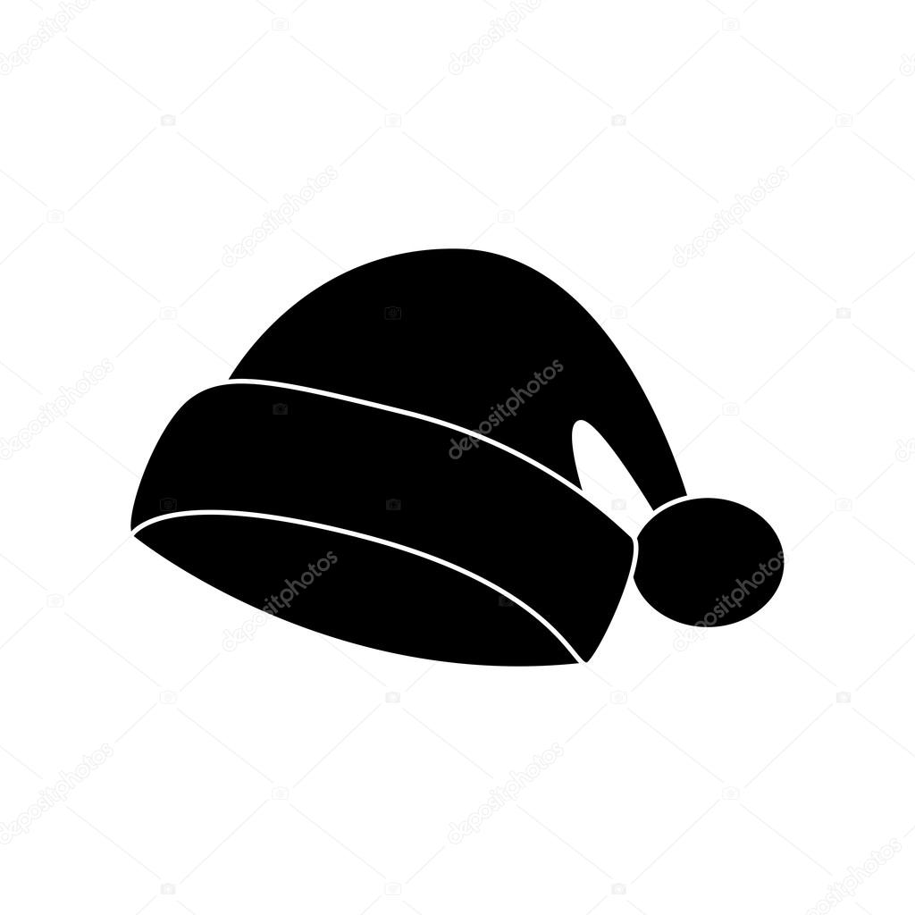 santa hat christmas cap icon symbol silhouette winter vector