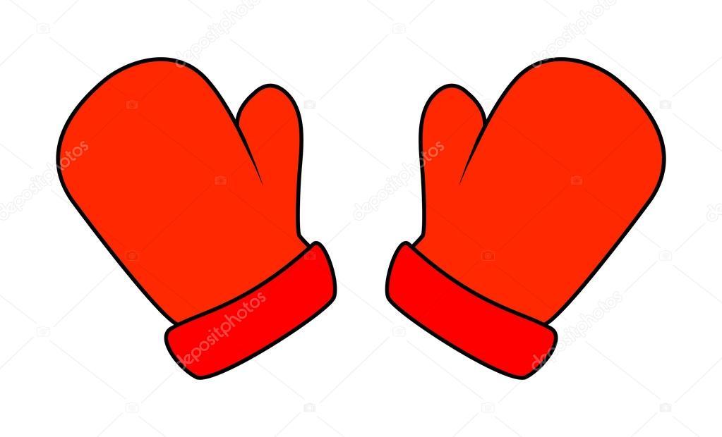 Красная варежка нарисованная картинка