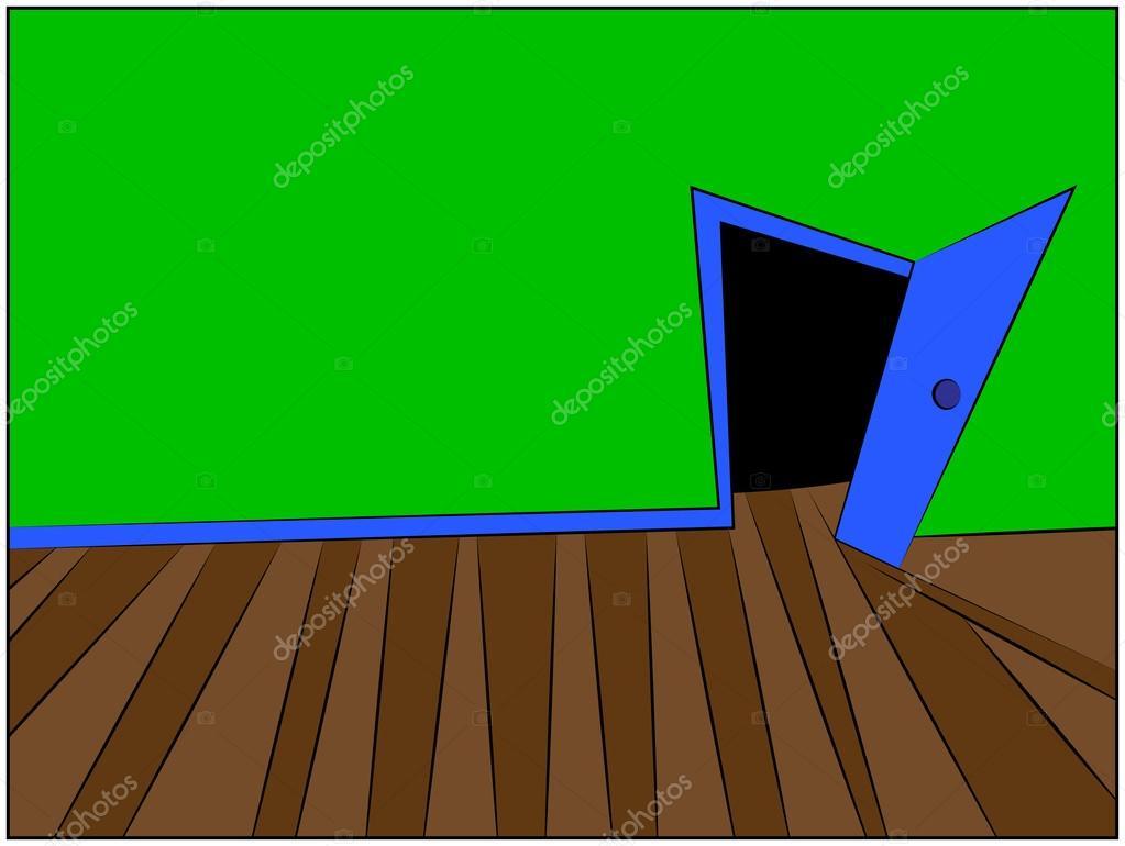 Vecteur de mystère salle cartoon illustration du couloir de la
