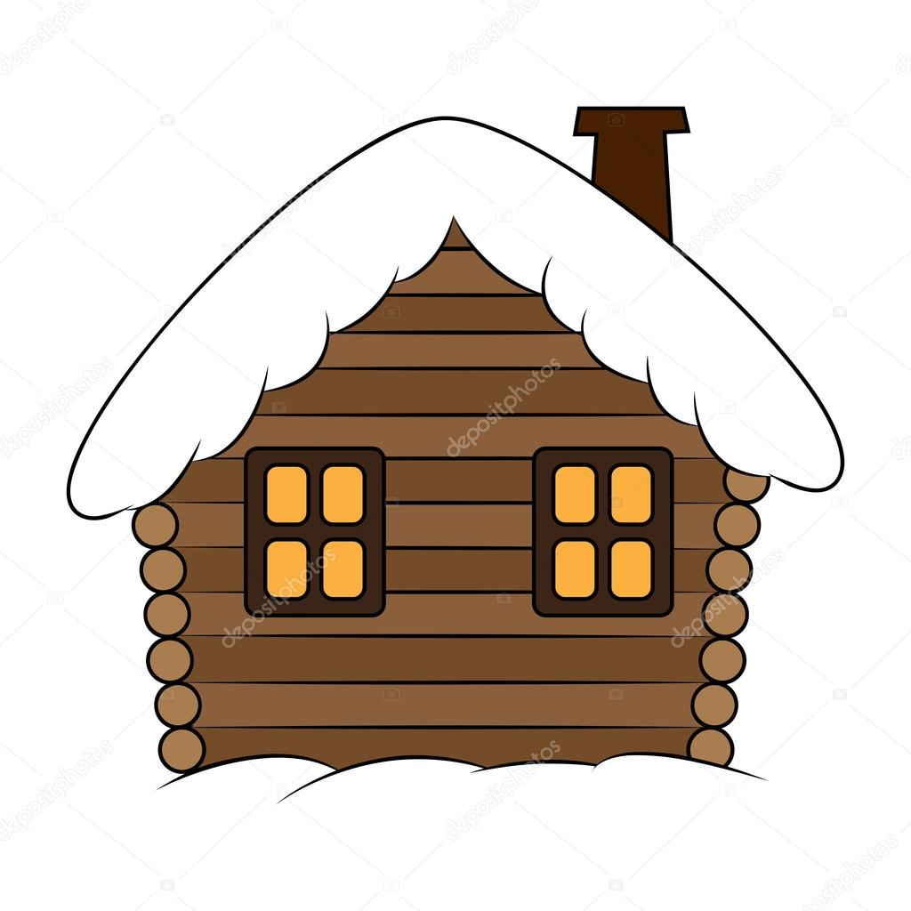 House With Snow Cartoon Illustration Winter Snowy