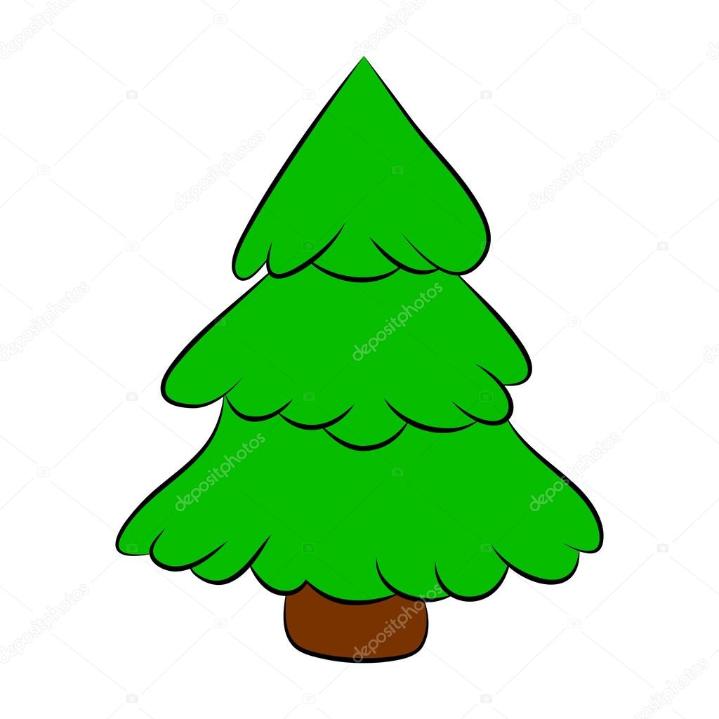 Christmas Tree Cartoon Design For Card Icon Symbol Winter Vector