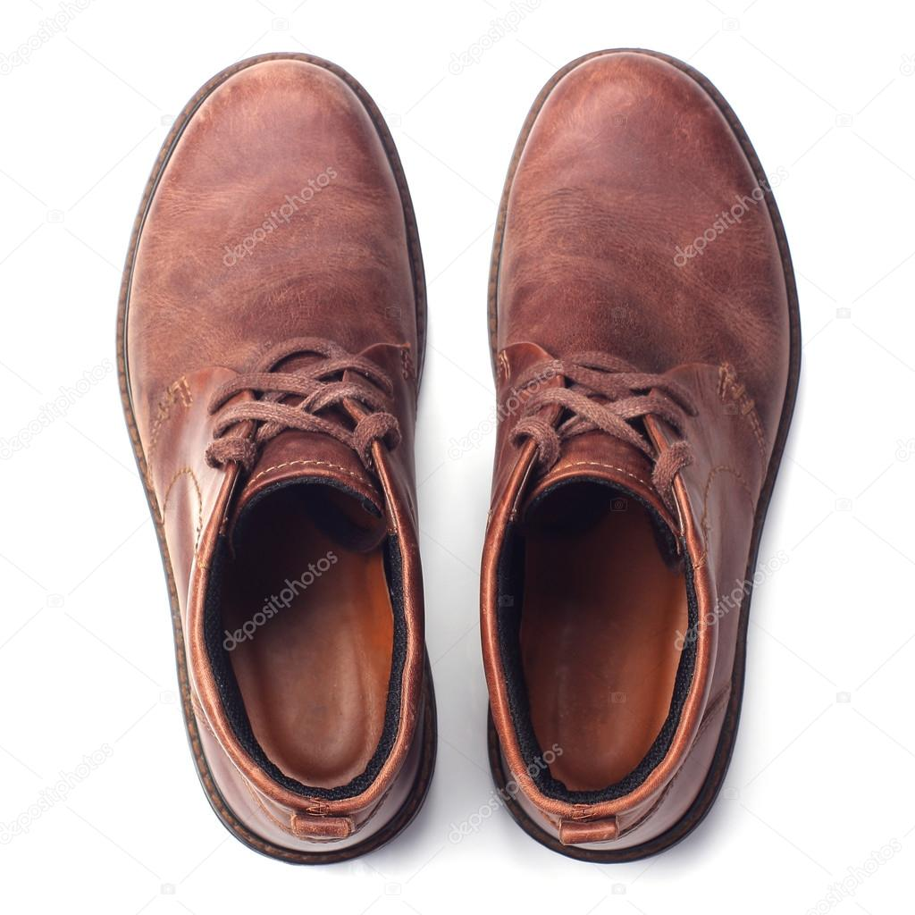 Herren Schuhe isoliert auf weiss. Ansicht von oben — Stockfoto ... d3e7bcae92