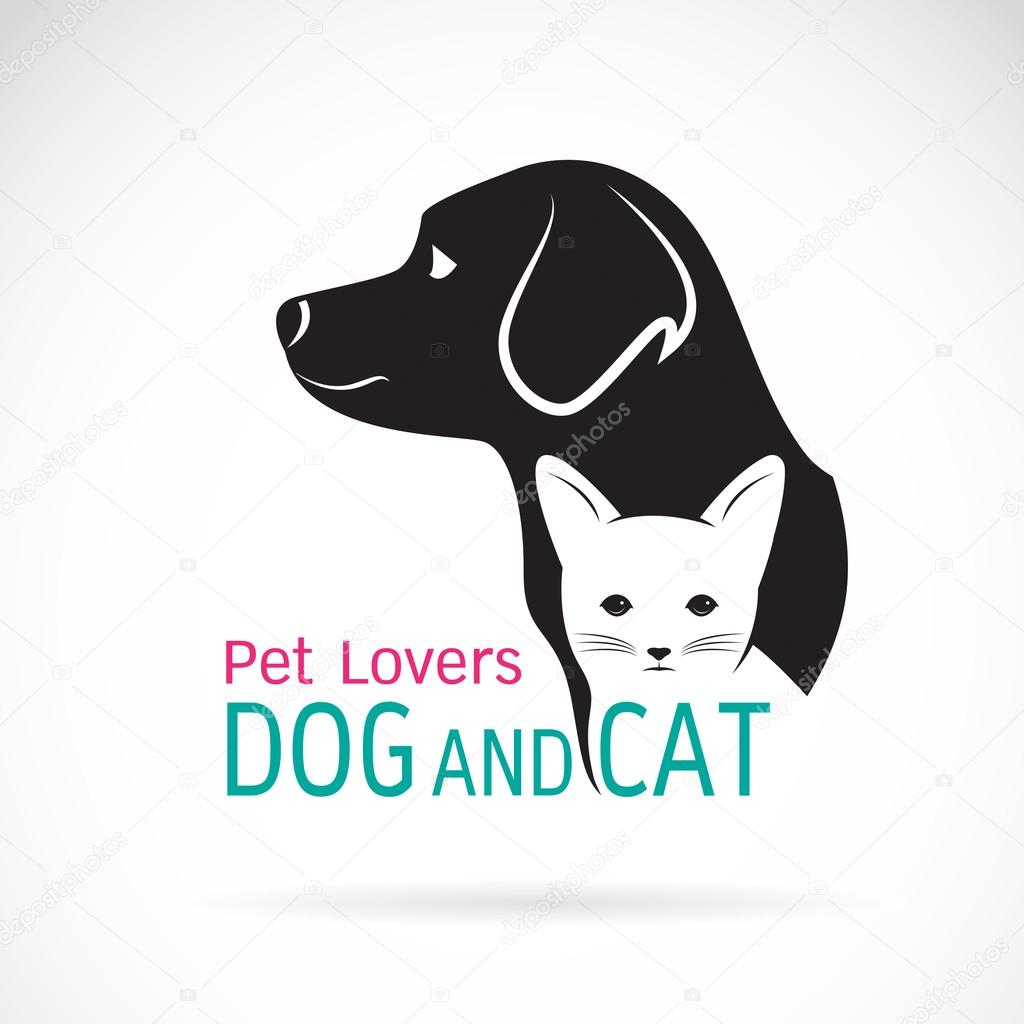 Vector image of an dog and cat design on a white background