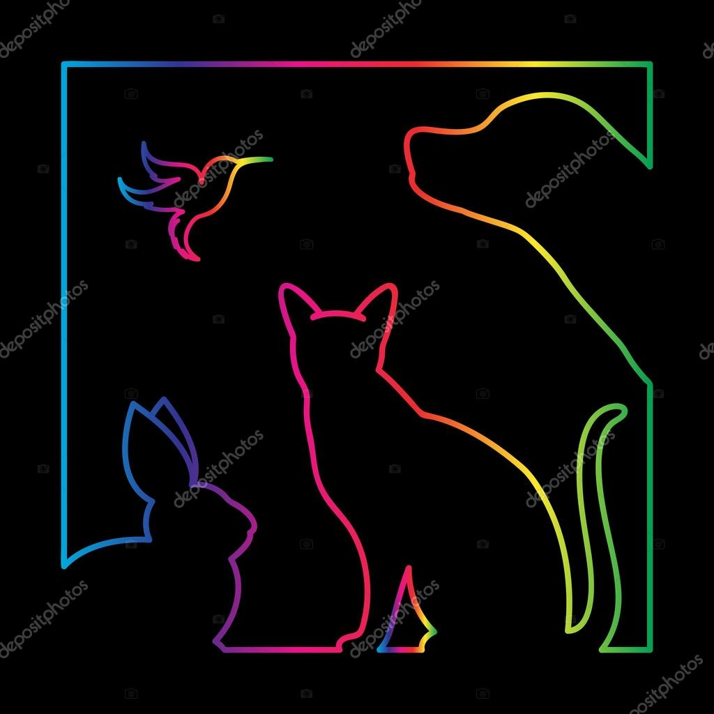 Vector group of pets in the frame - Dog, cat, bird, rabbit, Isol
