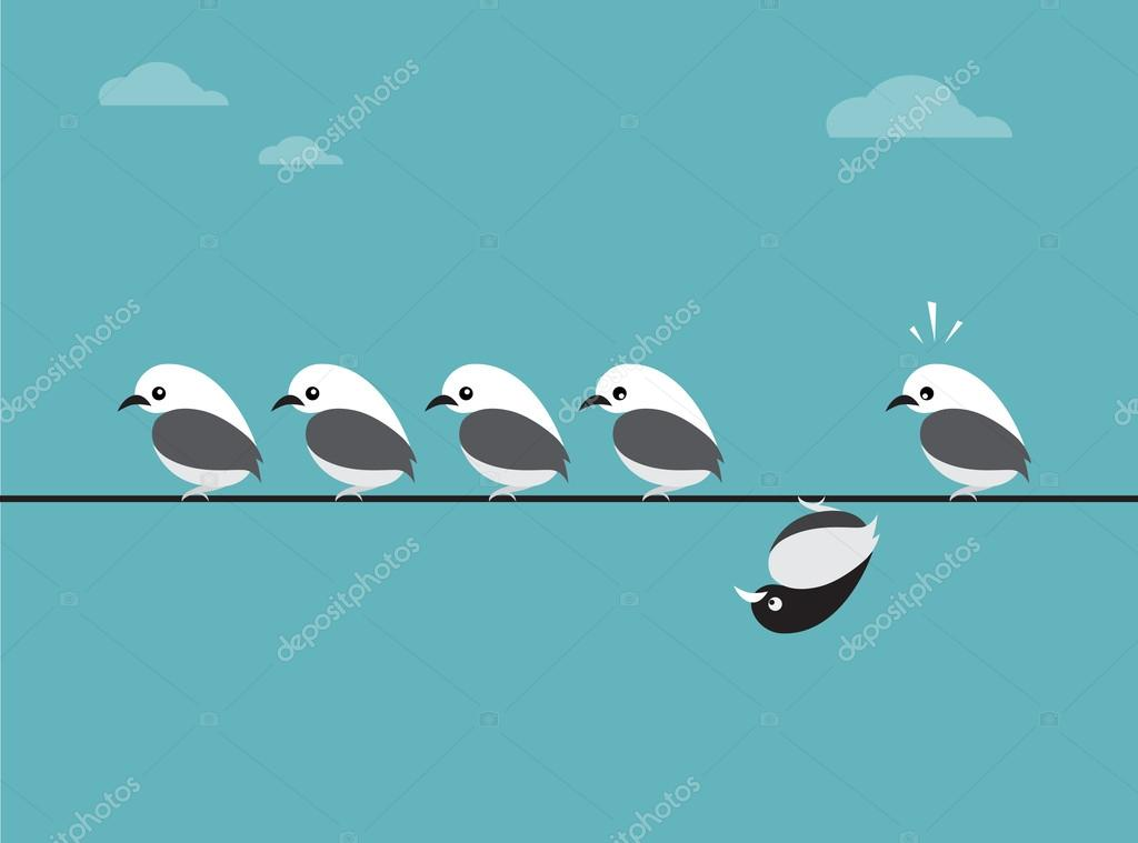 Vector image of birds group. Different concepts