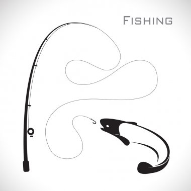 Vector images of fishing rod and fish