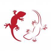 Fotografia immagine vettoriale di un geco su sfondo bianco