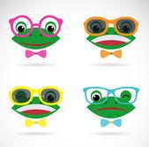 Fotografia Immagine di vettore di una rana occhiali su priorità bassa bianca