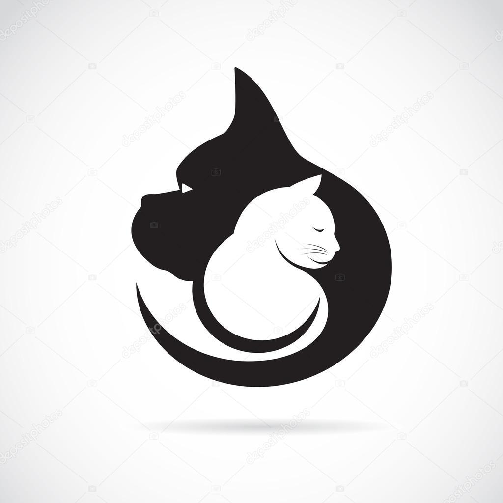 Векторное изображение собаки и кошки на белом фоне ...