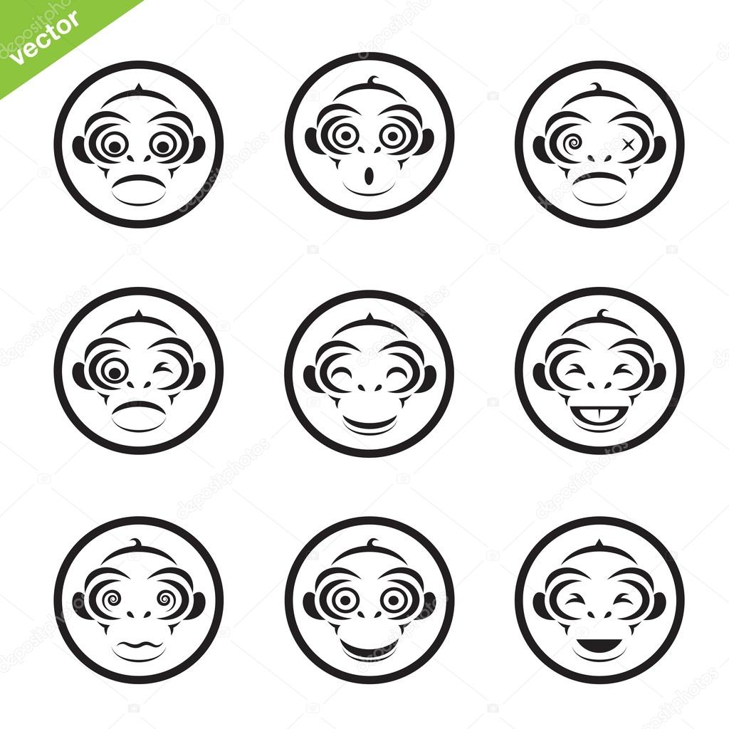 Vector group of monkey in the circle on white background