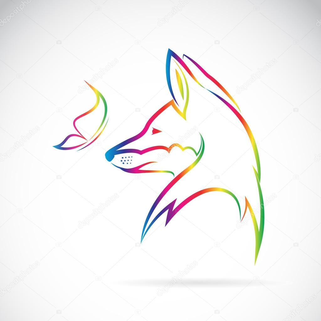 Vector image of butterfly and fox on white background
