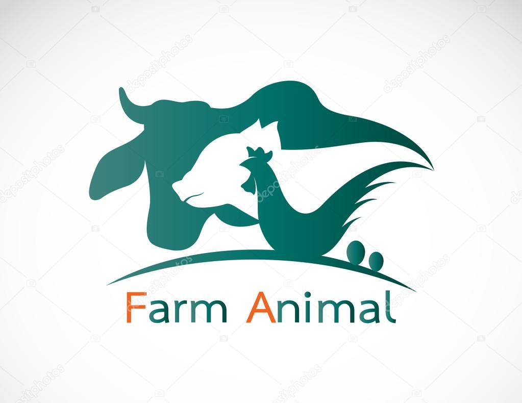 Vector group of animal farm label - cow,pig,chicken,egg