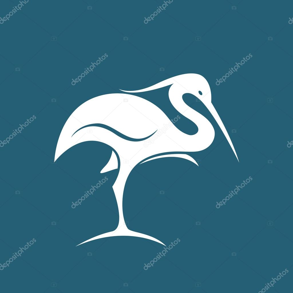 Vector image of an stork on blue background