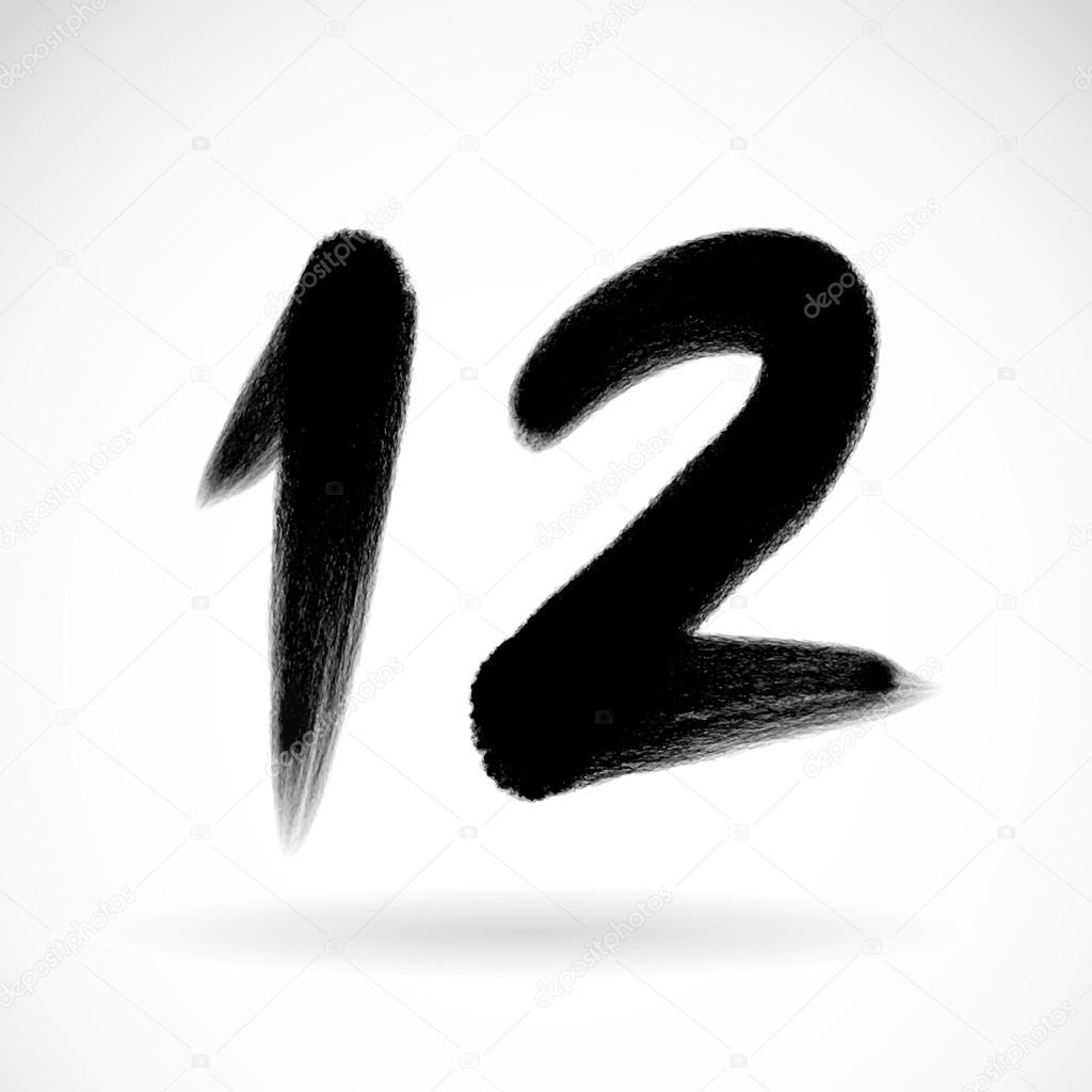 Numbers 12 written with a brush on a white background stock vector