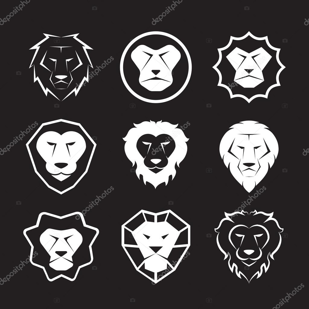 Vector group of an lion head design on black background
