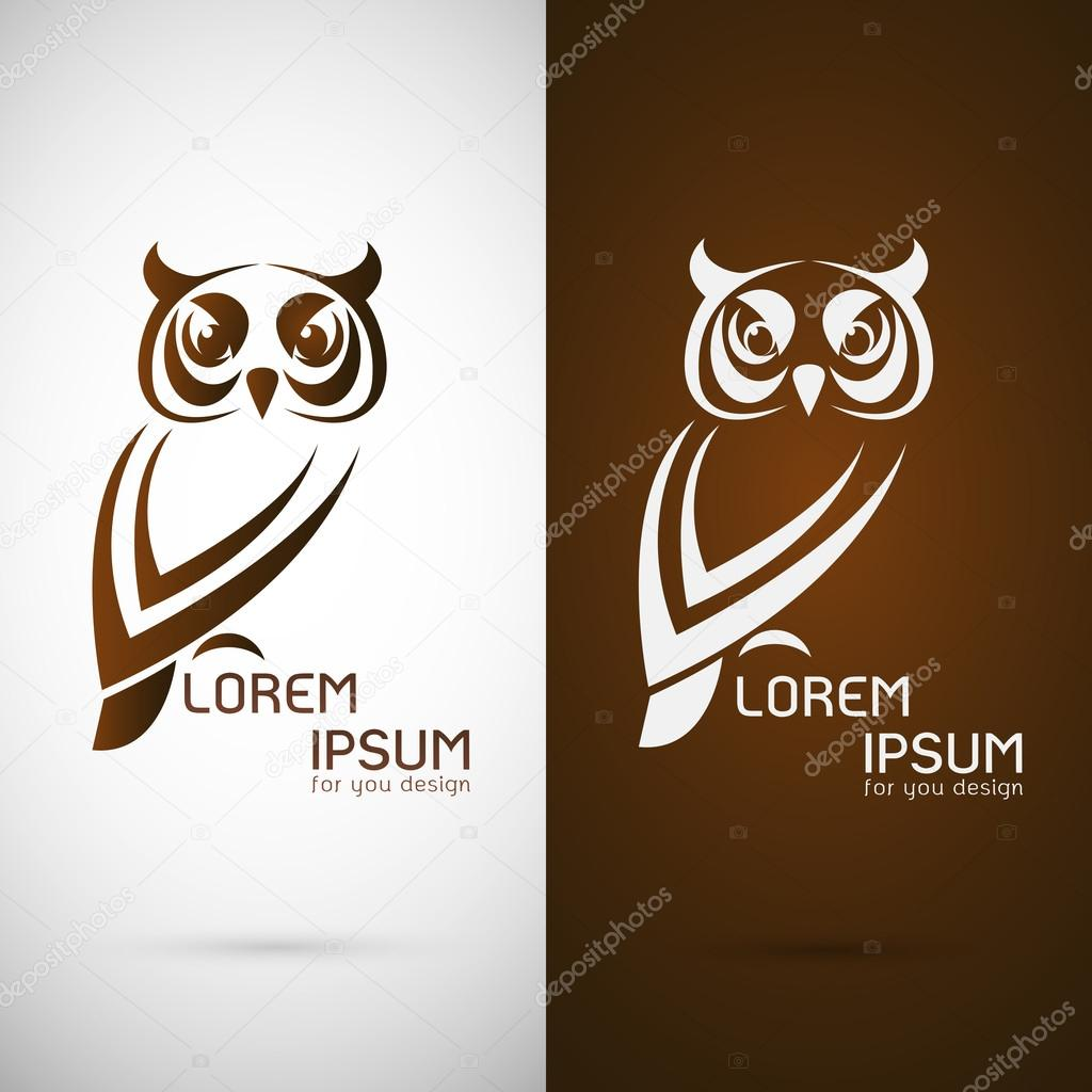Vector image of an owl design on white background and brown back