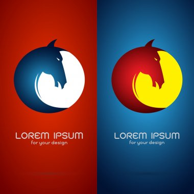 Vector image of an horse head design on red background and blue